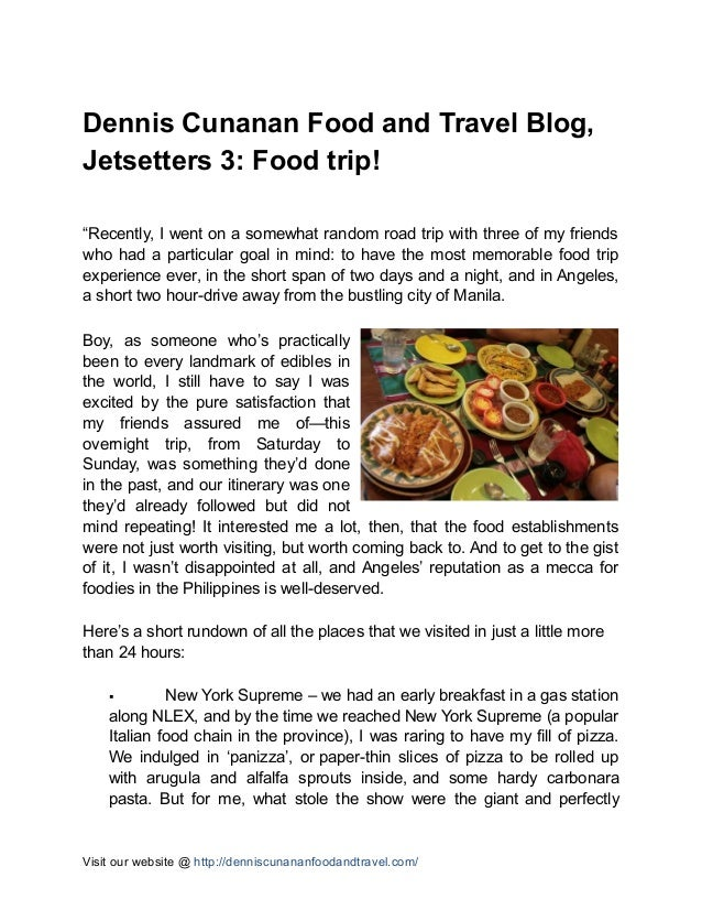 """Dennis Cunanan Food and Travel Blog, Jetsetters 3: Food trip! """"Recently, I went on a somewhat random road trip with three ..."""