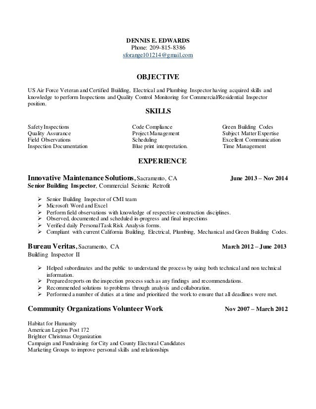 Resume For Building Inspection Position In Tracy California .