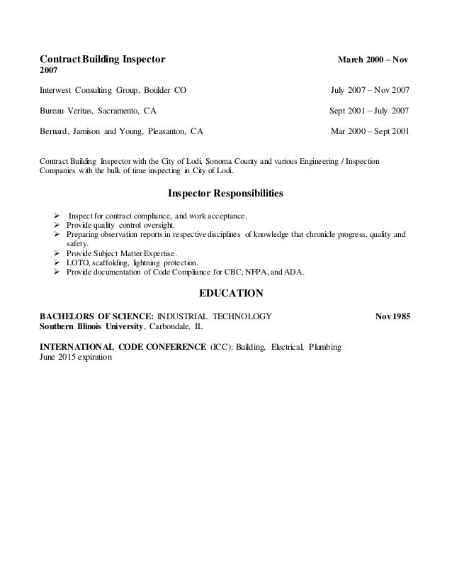 building inspector resume
