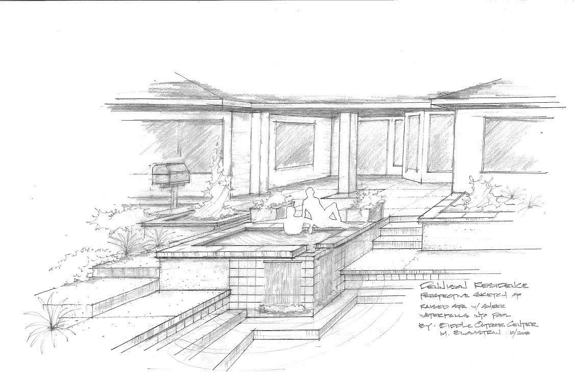 Swimming pool w raised spa perspective sketch for Swimming pool sketch