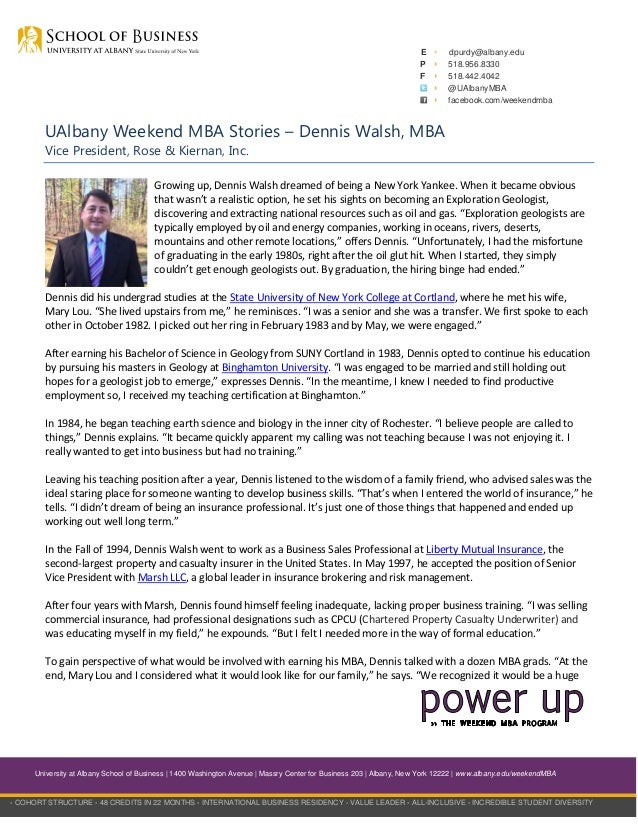 Ualbany Weekend Mba Stories Dennis Walsh