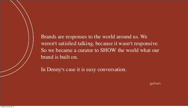 Brands are responses to the world around us. We                          weren't satisfied talking, because it wasn't respo...