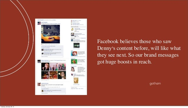 Facebook believes those who saw                          Denny's content before, will like what                          t...