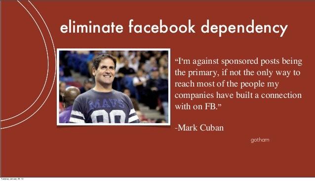 """eliminate facebook dependency                                        """"I'm against sponsored posts being                   ..."""