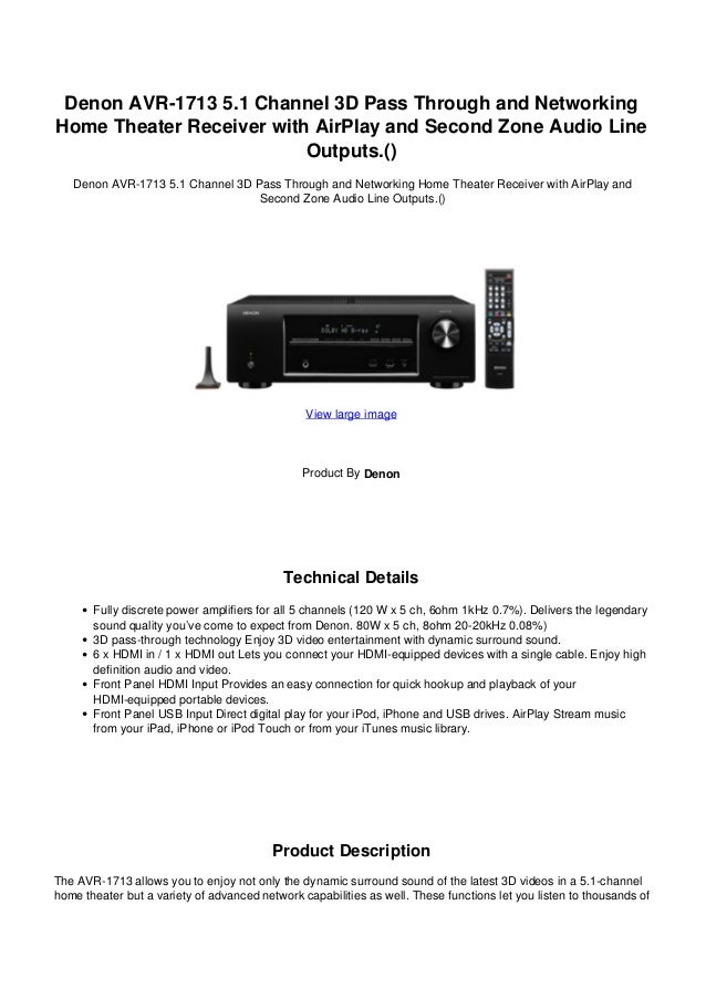 price Denon avr 1713 5 1 channel 3 d pass through and