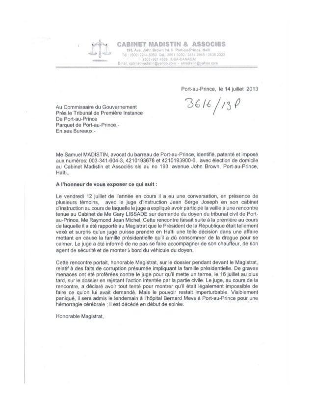 Denonciation de Samuel Madistin ayant apport au décès du juge Jean Serge Joseph