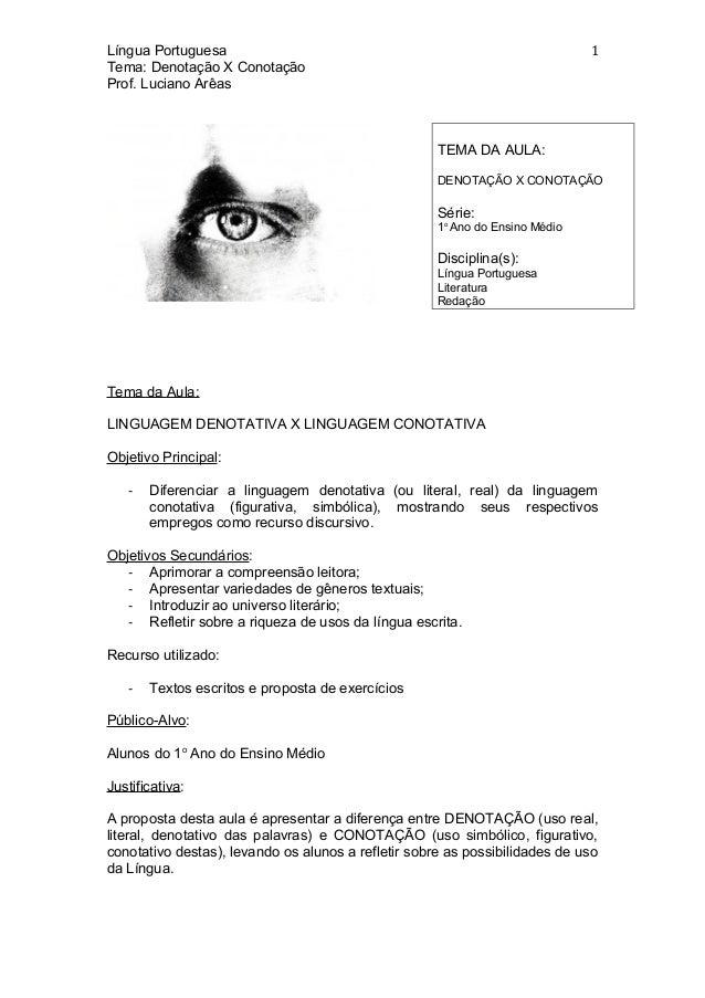 Língua Portuguesa Tema: Denotação X Conotação Prof. Luciano Arêas Tema da Aula: LINGUAGEM DENOTATIVA X LINGUAGEM CONOTATIV...