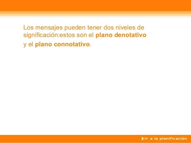 Los mensajes pueden tener dos niveles de significaci�n:estos son el plano denotativo y el plano connotativo.