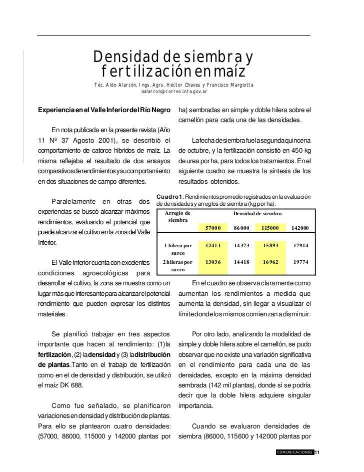 Densidad y fertilizacion en maiz for Densidad de siembra de tilapia