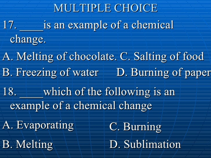 Density Common Chemical Changes Q And A