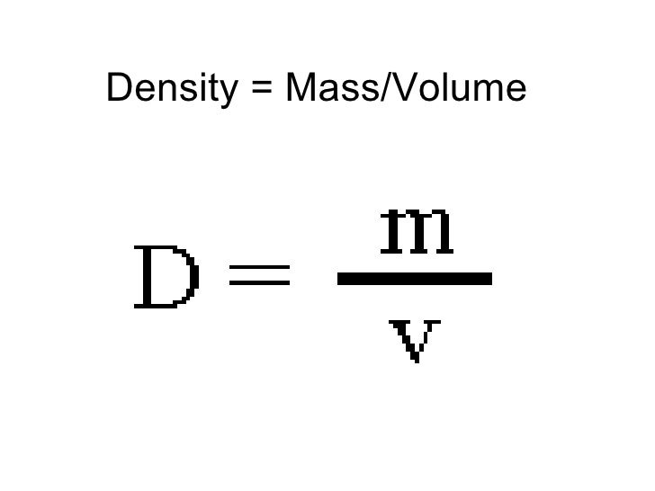 Density = Mass/Volume