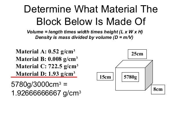 Determine What Material The Block Below Is Made Of 25cm 15cm 8cm 5780g Volume = length times width times height (L x W x H...