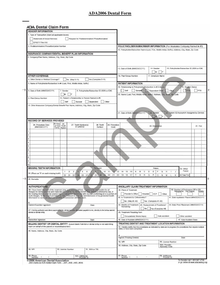 Dental Claim Form