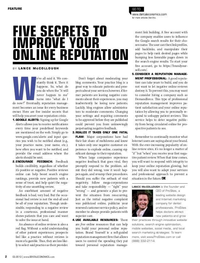 2 03.2013   www.dentaleconomics.com FEATURE Go to www.dentaleconomics.com for more articles like this. b y L a n c e M c C...