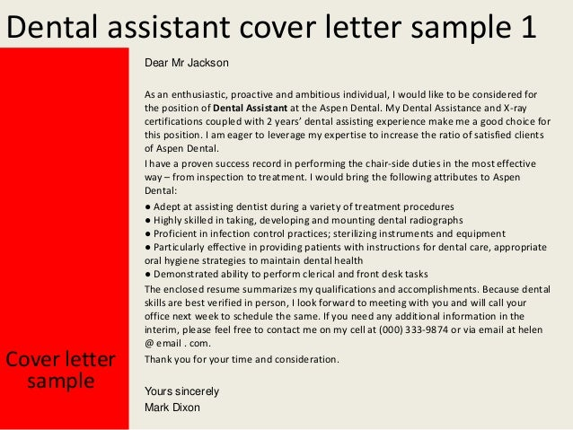 Dental assistant cover letters experience