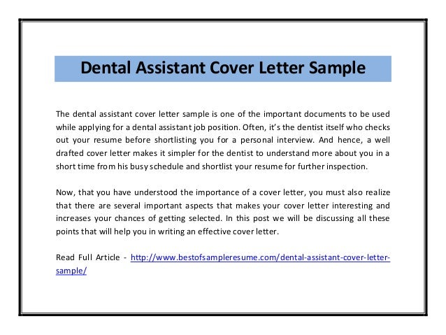 dental assistant cover letter sample pdf