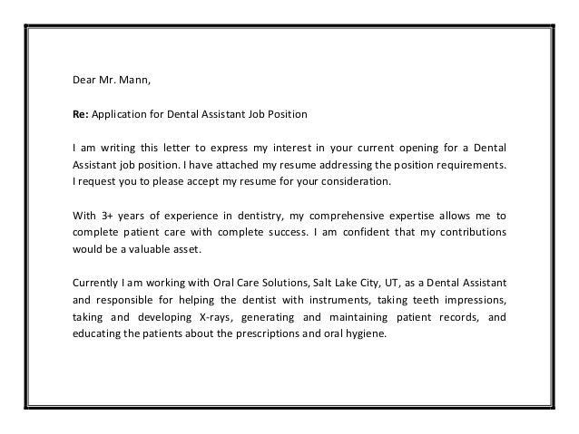 Cover Letter Sample Dental Assistant Cover Letter Examples Letter Resume In  Examples Of Cover Letters For