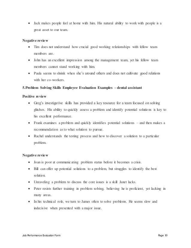 job skills list examples