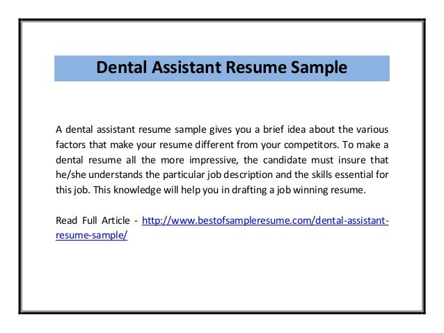 dental assistant - Sample Dental Assistant Resume
