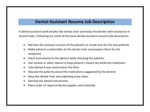 Dental assistant resume duties