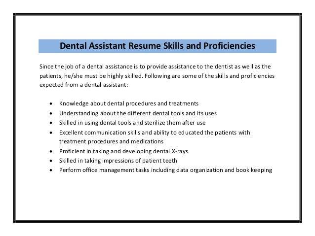 Dental Assistant Resume ...