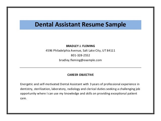 Dental Assistant Resume Sample ...