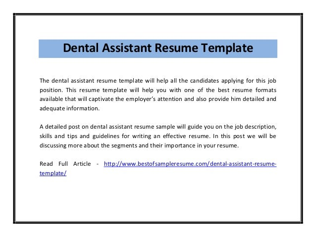 dental assistant resume template - Dental Assistant Resume Templates