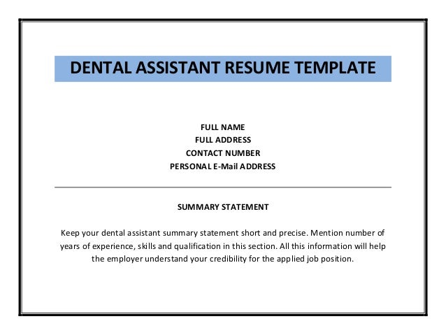 dental assistant resume resume for dental assistant - Dental Assistant Resume Templates