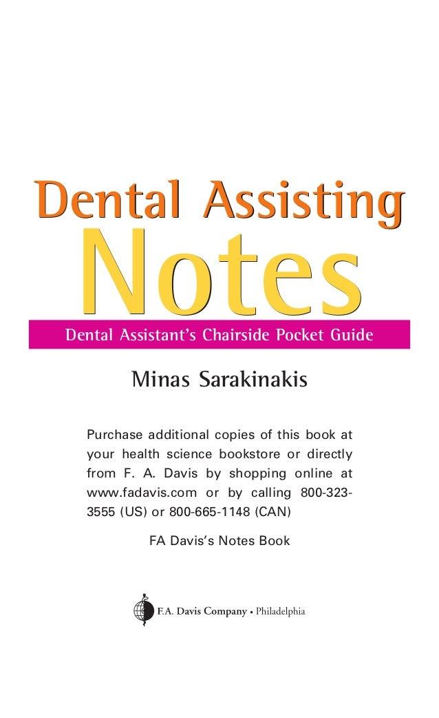 Dental assisting notes dental assistant's chairside pocket guide, 1…