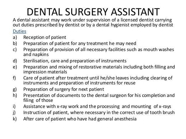 Dental Assistant Duties