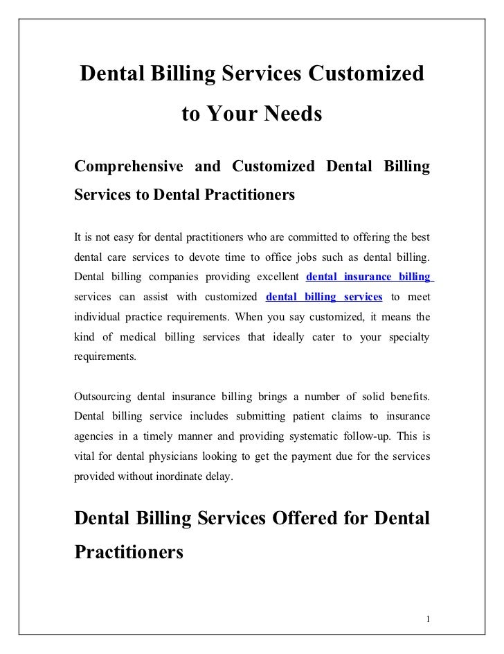 Dental Billing Services Customized                       to Your NeedsComprehensive and Customized Dental BillingServices ...