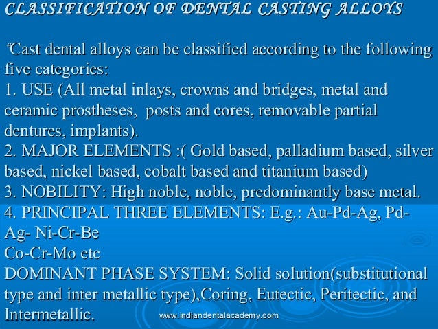 """CLASSIFICATION OF DENTAL CASTING ALLOYSCLASSIFICATION OF DENTAL CASTING ALLOYS """"""""Cast dental alloys can be classified acco..."""