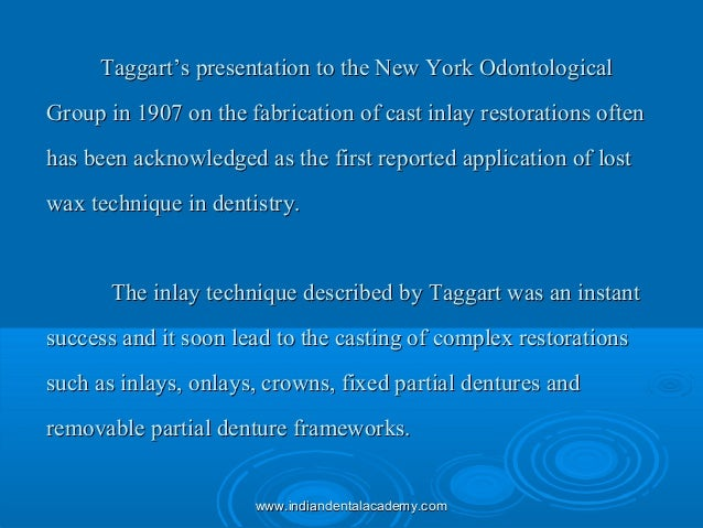 Taggart's presentation to the New York OdontologicalTaggart's presentation to the New York Odontological Group in 1907 on ...