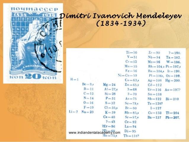 Dimitri Ivanovich Mendeleyev (1834-1934) www.indiandentalacademy.com