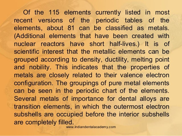 Of the 115 elements currently listed in most recent versions of the periodic tables of the elements, about 81 can be class...