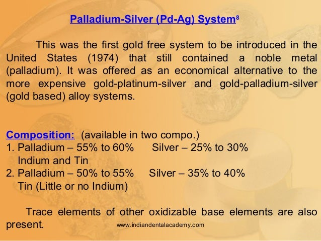 Palladium-Silver (Pd-Ag) System8 This was the first gold free system to be introduced in the United States (1974) that sti...