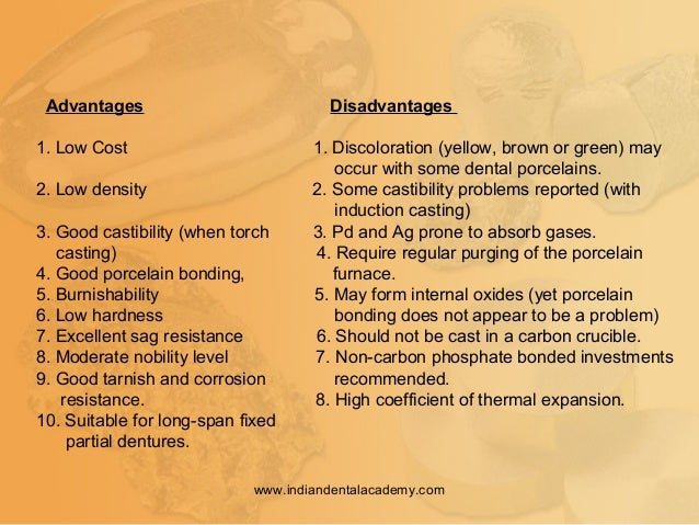 Advantages Disadvantages 1. Low Cost 1. Discoloration (yellow, brown or green) may occur with some dental porcelains. 2. L...