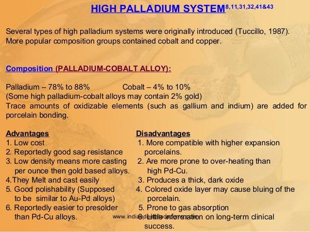 HIGH PALLADIUM SYSTEM8,11,31,32,41&43 Several types of high palladium systems were originally introduced (Tuccillo, 1987)....