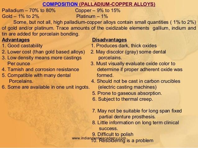 COMPOSITION (PALLADIUM-COPPER ALLOYS) Palladium – 70% to 80% Copper – 9% to 15% Gold – 1% to 2% Platinum – 1% Some, but no...