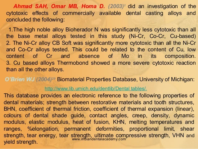 Ahmad SAH, Omar MB, Homa D. (2003)1 did an investigation of the cytotoxic effects of commercially available dental casting...