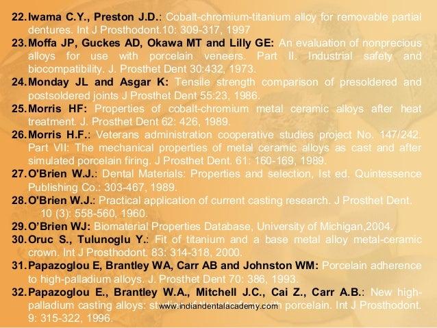 22.Iwama C.Y., Preston J.D.: Cobalt-chromium-titanium alloy for removable partial dentures. Int J Prosthodont.10: 309-317,...