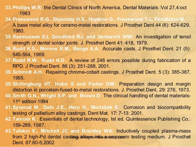 33.Phillips W.R: the Dental Clinics of North America, Dental Materials :Vol 27,4:oct 1983 34.Presswood R.G., Skjonsby H.S....
