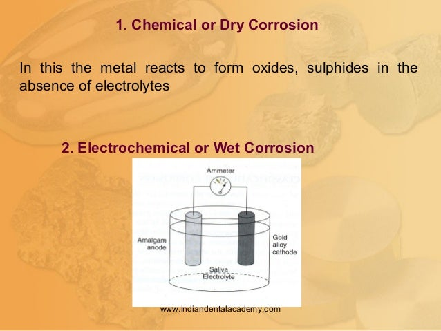 1. Chemical or Dry Corrosion 2. Electrochemical or Wet Corrosion In this the metal reacts to form oxides, sulphides in the...