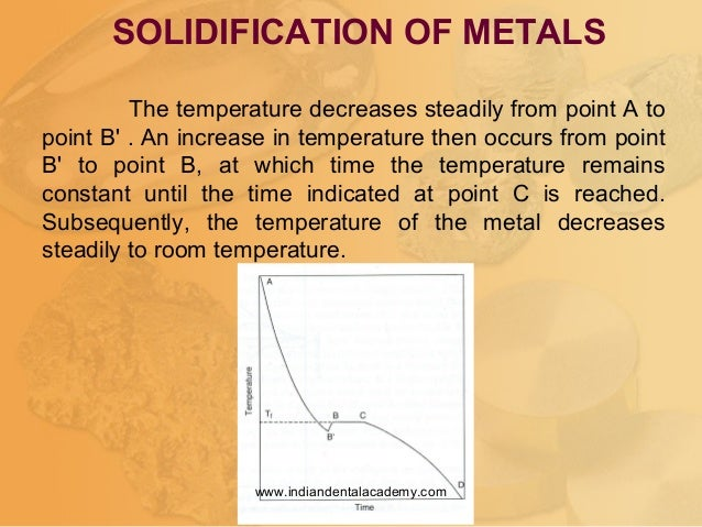 SOLIDIFICATION OF METALS The temperature decreases steadily from point A to point B' . An increase in temperature then occ...