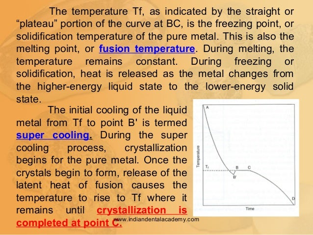 """The temperature Tf, as indicated by the straight or """"plateau"""" portion of the curve at BC, is the freezing point, or solidi..."""