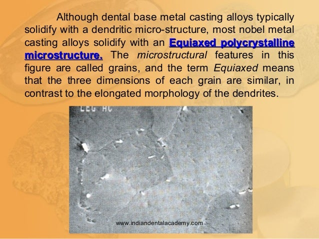 Although dental base metal casting alloys typically solidify with a dendritic micro-structure, most nobel metal casting al...