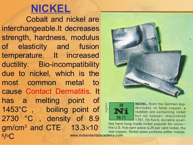 NICKEL Cobalt and nickel are interchangeable.It decreases strength, hardness, modulus of elasticity and fusion temperature...