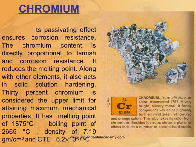 CHROMIUM Its passivating effect ensures corrosion resistance. The chromium content is directly proportional to tarnish and...