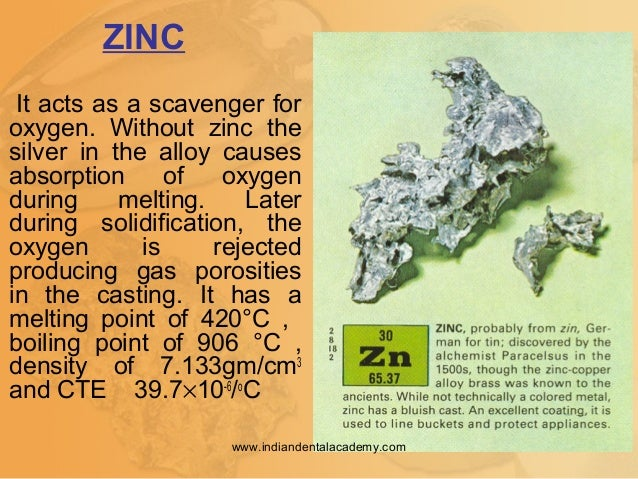 It acts as a scavenger for oxygen. Without zinc the silver in the alloy causes absorption of oxygen during melting. Later ...