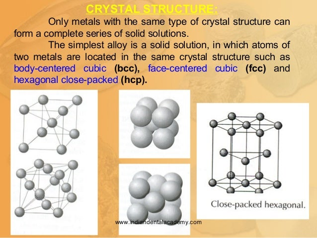 CRYSTAL STRUCTURE: Only metals with the same type of crystal structure can form a complete series of solid solutions. The ...